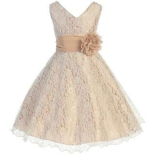 Flower Girl Dress V-Neck Overlay Chiffon Belt & Flower Taupe JK 3620