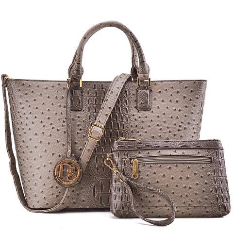 Dasein Ostrich Embossed Tote with Accessory pouch