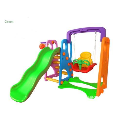 Kids Swing and Slide Basketball Activity Center - Green