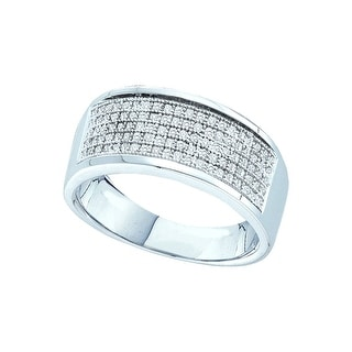 10k White Gold Mens Natural Round Diamond Micropave Wedding Anniversary Band Ring 1/3 Cttw