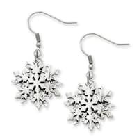 Stainless Steel Polished Snowflake Dangle Earrings