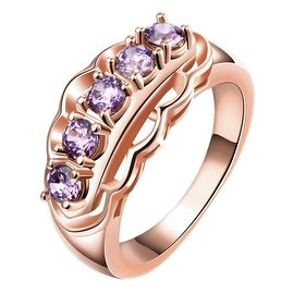 Purple Citrine Accent Gems Rose Gold Ring