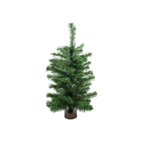 2' Two-Tone Balsam Fir Artificial Christmas Tree with Brown Trunk Base - Unlit - green