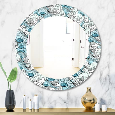 Designart 'Great Wave Inspiration' Traditional Mirror - Oval or Round Wall Mirror - White