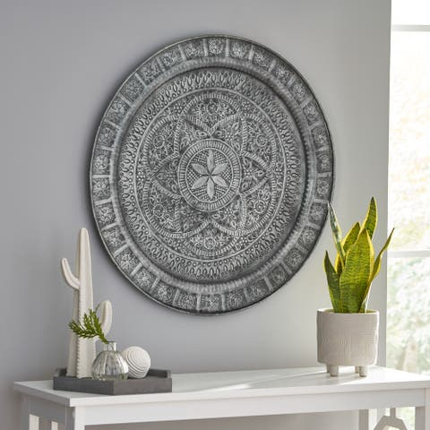 Ocilla Indoor Iron Handcrafted Embossed Plate Wall Decor by Christopher Knight Home