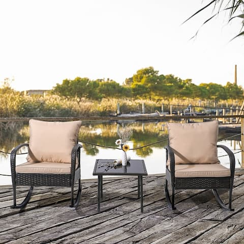 3 PCS Patio Wicker Bistro Set Rattan Rocking Chairs with Coffee Table