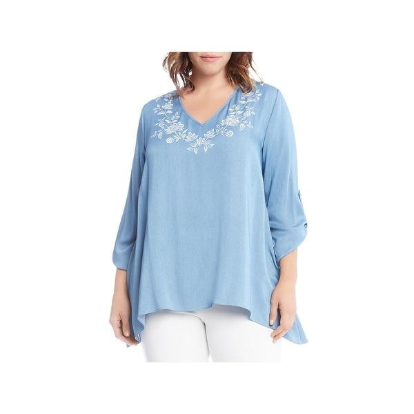 Karen Kane Womens Plus Pullover Top Printed Adjustable Sleeves