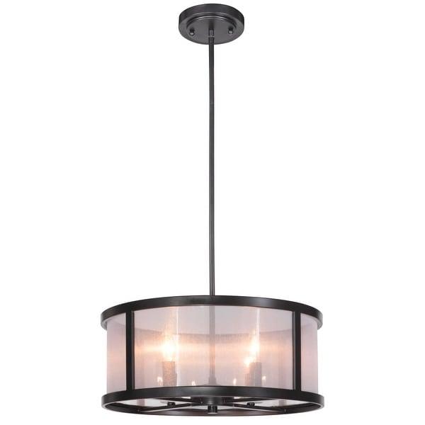"Jeremiah Lighting 36794 Danbury 4-Light Drum Shaped Indoor Pendant - 18"" Wide - MATTE BLACK"
