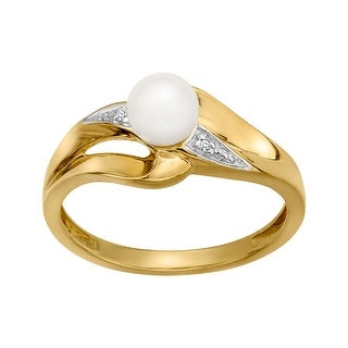 3 mm Pearl Ring with Diamonds in 10K Gold
