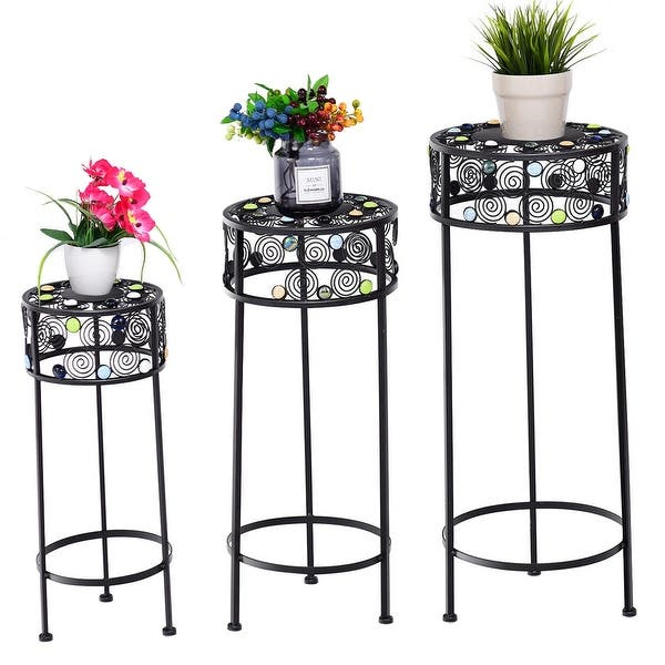 Gymax 3 Piece Metal Flower Pot Rack Plant Display Stand Shelf Holder Garden Ceramic Beads As Pic Overstock 28534312