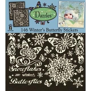 "Dazzles Stickers 8""X9"" 2/Pkg-Winter Butterflies-Pearl Silver"