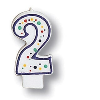 Polka Dot Numeral Candle # 2