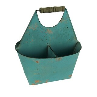 Rusty Blue Metal 3 Compartment Divided Storage Caddy - 12.5 X 10.75 X 7 inches