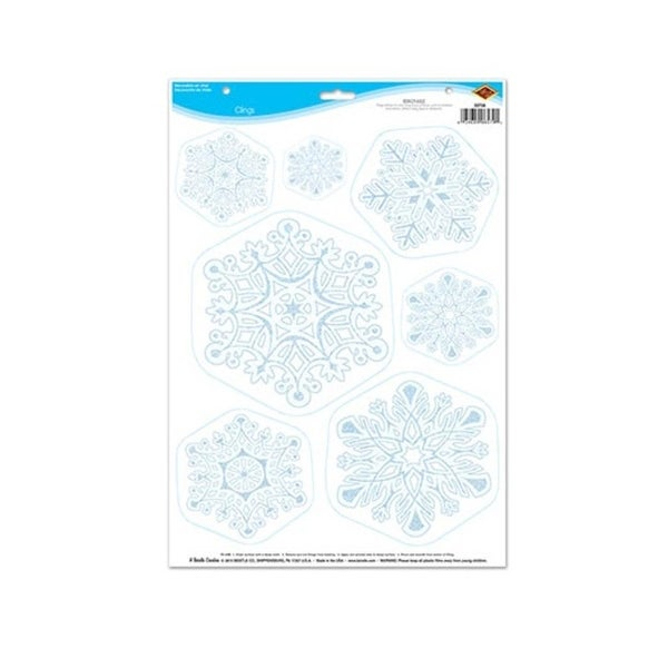 "Club Pack of 84 Sky Blue and White Winter Snowflake Decorative Clings 17"" Sheet"