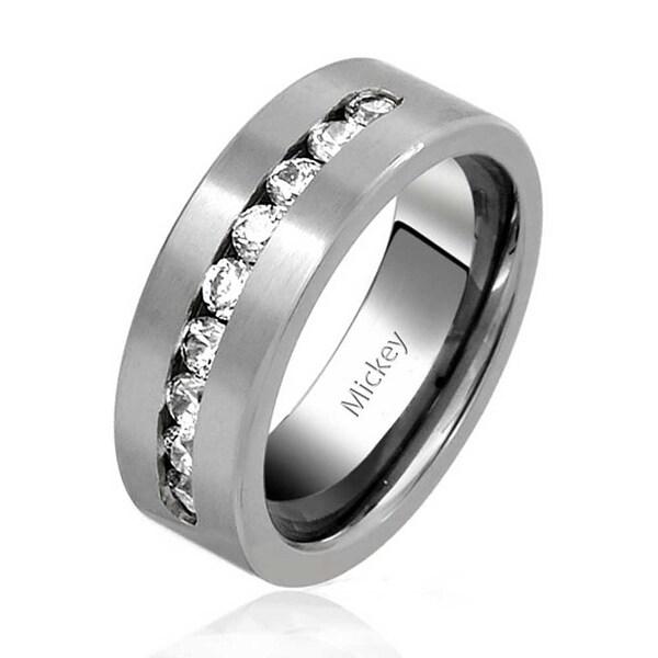 8846ba00bb Channel Set CZ Mens Titanium Cubic Zirconia Wedding Band Promise Ring  Polished Finish 8mm