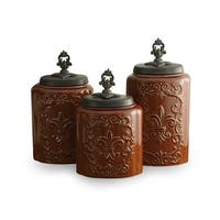 American Atelier Antique Collection Fleur de Lis Brown Canisters Kitchen Storage, Set of 3