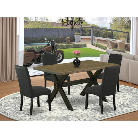 X676DR124-5 5-Piece Dining Set- 4 Black Linen Fabric Dining Chairs and Dining Table - Distressed Jacobean Finish (Pieces Option)