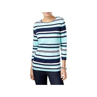 Karen Scott Womens Petites Pullover Top Striped 3/4 Sleeves (2 options available)