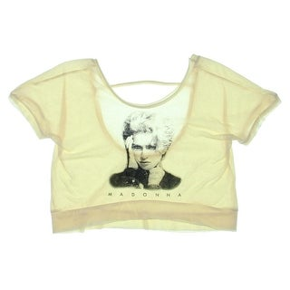 Material Girl Womens Juniors Cropped Batwing Graphic Tee