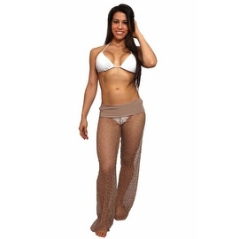 Women's Cover Up Waist Band Crochet Pants Beach Swimwear Swimsuit