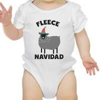 Fleece Navidad Cute Holiday Infant Bodysuit Gift White Cotton Romper