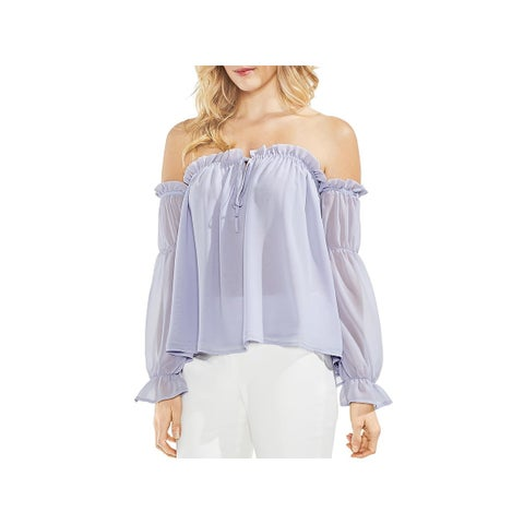 Vince Camuto Womens Blouse Cold Shoulder Tie Front