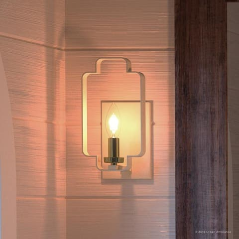 "Luxury French Country Wall Sconce, 9.25""H x 5""W, with Quatrefoil Cube Style, Soft Crème Finish by Urban Ambiance"