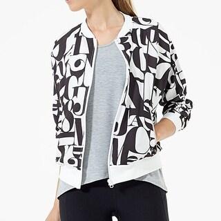 Womens Black White Letter Coat Jacket +Gift Necklace