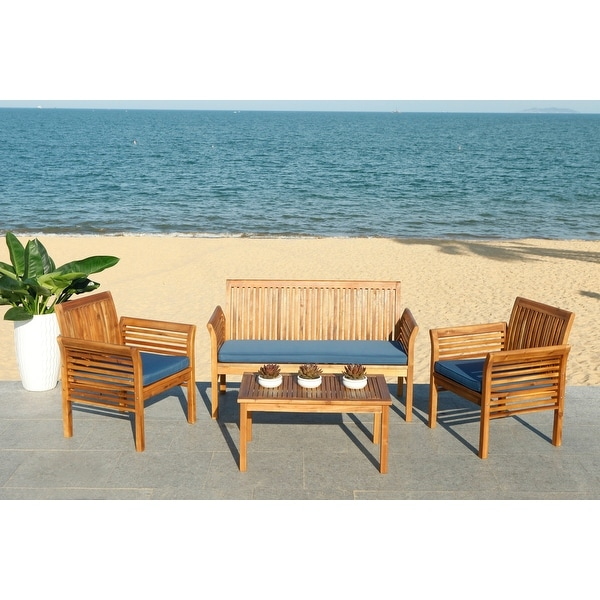 Safavieh Outdoor Living Carson 4 Pc Outdoor Set - Teak ... on Safavieh Outdoor Living Montez 4 Piece Set id=51510