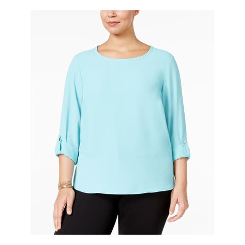 NINE WEST Womens Light Blue Cuffed Wear To Work Top Size 1X