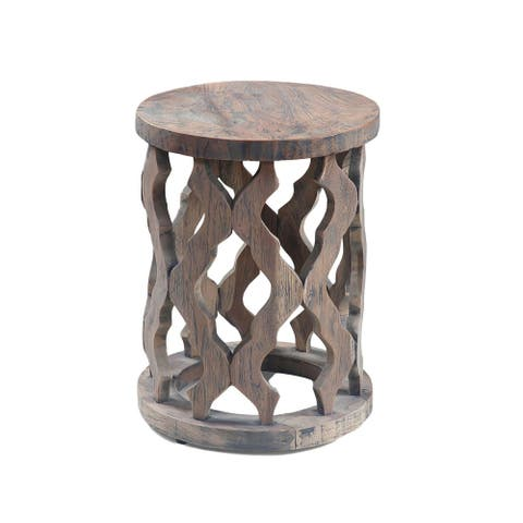 Natural Teak Wood End Table, Carved Wooden Accent Table for Home