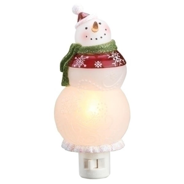 "5.5"" Smiling Snowman in Santa Hat Christmas Night Light"