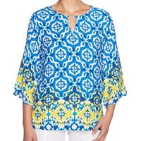 Ruby Rd Blue Women's Size Small S Geometric 3/4 Sleeve Blouse
