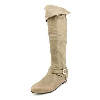 Chinese Laundry Nostalgia Women Round Toe Leather Gray Knee High Boot
