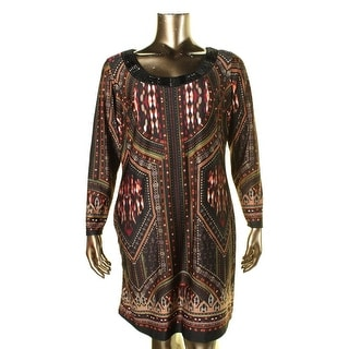 NY Collection Womens Plus Printed Beaded Casual Dress - 2X