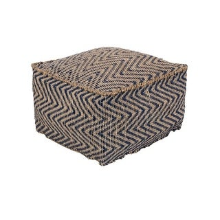 "20""Midnight Blue and Dark Beige Upholstered Woven Foot Stool Ottoman"