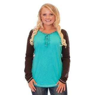 Cowgirl Tuff Western Shirt Womens L/S Raglan Lace Turquoise F00348