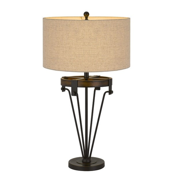 """32"""" Metal Table Lamp with Drum Burlap Shade, Black and Beige. Opens flyout."""