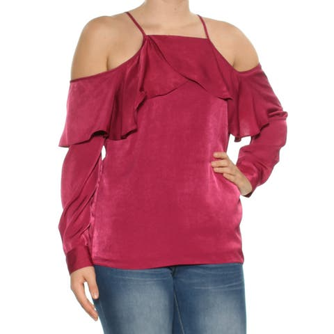 BAR III Womens Burgundy Cold Shoulder Ruffled Long Sleeve Halter Evening Top Plus Size: 2XS