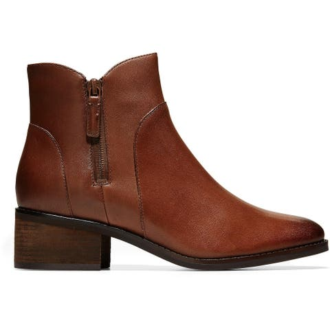 Cole Haan Womens Lyla Ankle Boots Leather Casual - Harvest Brown Leather