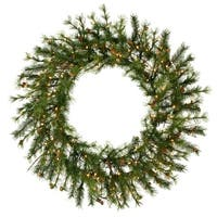 """60"""" Pre-Lit Mixed Country Pine Commercial Christmas Wreath - Clear Dura Lights"""