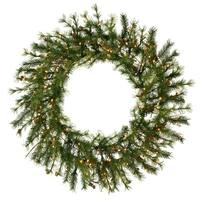 "60"" Pre-Lit Mixed Country Pine Commercial Christmas Wreath - Clear Dura Lights - green"