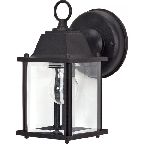 """Nuvo Lighting 60/638 1-Light 8-5/8"""" Tall Outdoor Wall Sconce with Clear Glass Shade - Textured Black - n/a"""