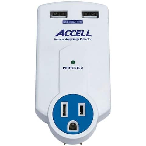 ACCELL Home or Away Power Station 3-Outlet Travel Surge Protector Whit