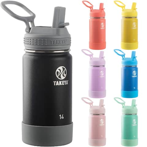Takeya Kids 14 oz. Insulated Stainless Steel Water Bottle with Straw Lid - 14 oz.
