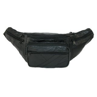 CTM® Patch Leather Large Waist Pack - Black
