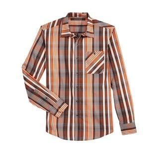 Sean John Regular Fit Plaid Long Sleeve Shirt Cinnamon Stick Orange