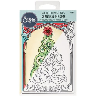 Christmas In Color; 8 Designs/3 Each - Sizzix Coloring Cards 24/Pkg By Jen Long