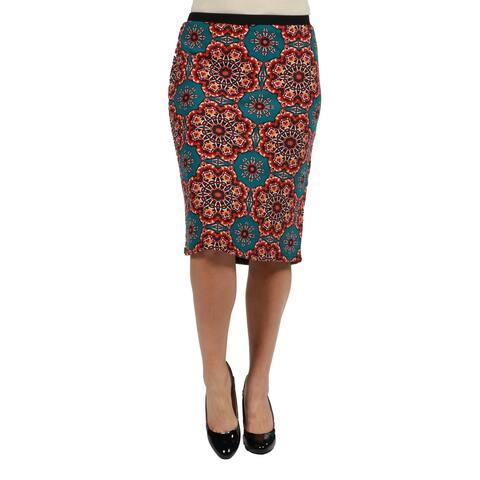 24seven Comfort Apparel Bold Print Plus Size Pencil Skirt