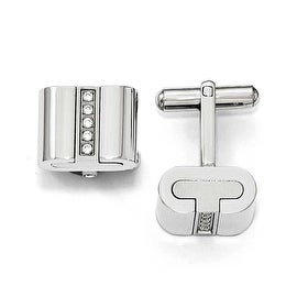 Chisel Stainless Steel Brushed and Polished with CZ Square Cuff Links